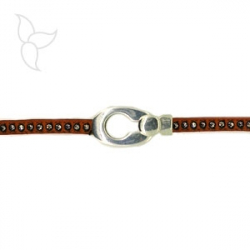 Hook rounded clasp strass leather 6mm