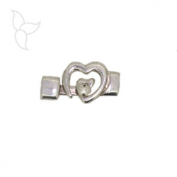 Heart clasp flat 10mm leather