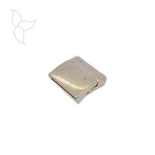 Fermoir rectangle incurvé cuir plat 20mm