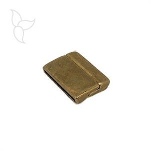 Verschluss rechteck geschwungen antikgoldfarben lederband 25mm