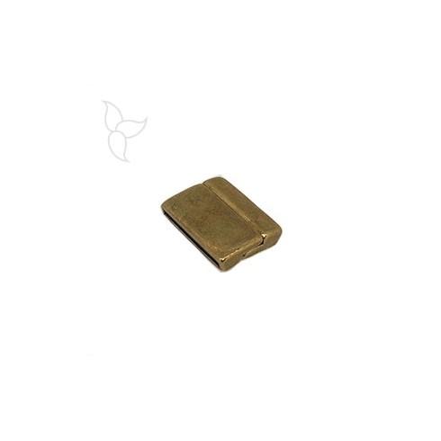Cierre rectangolar curvado viejo oro cuero plano 25mm