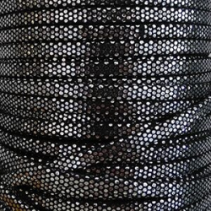 Band kuntsleder dopple schwarz und silber 5mm