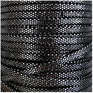 Laccetto antelina nero e argento 5mm
