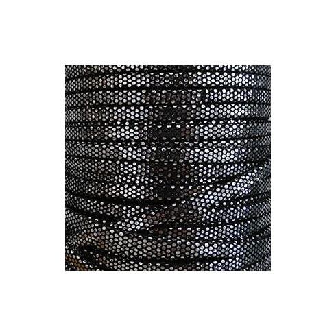 Laniere suédé doublée noir et argent 5mm