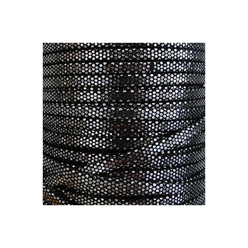 Tira antelina doblada negra y plata 5mm