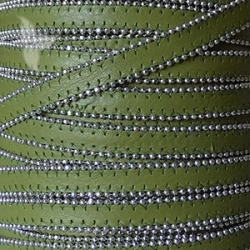 Khaki flat leather with silver color balls 10mm