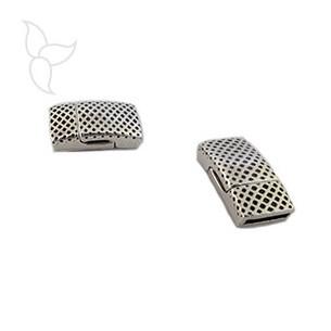 Fermoir rectangulaire à motifs cuir plat 10mm