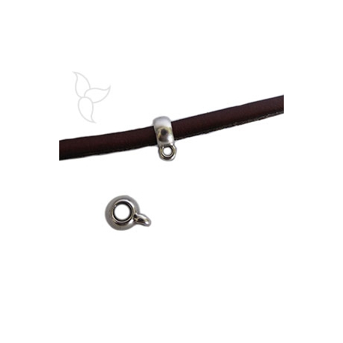 Bola con anilla para colgar para cuero redondo 4 a 5 mm