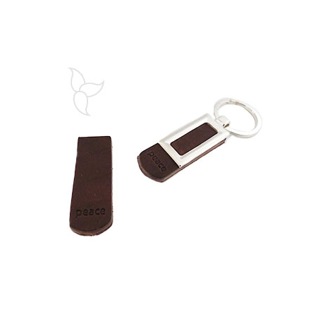 Rectangle brown leather peace