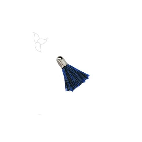 Pompon en tissu bleu marine avec embout