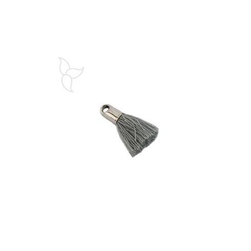 Pompon en tissu gris avec embout