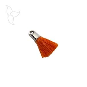 Quasten in stoff orange mit endkappe