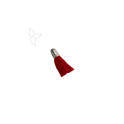 Pompon en tissu rouge avec embout