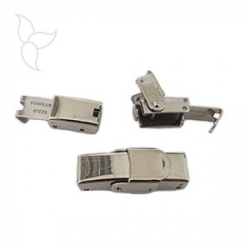 Clip clasp steel leather 5mm