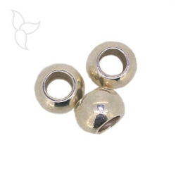 Round beads hole 9mm silver plated
