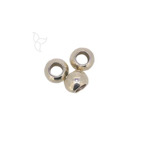 Perles ronde trou 9mm plaqué argent