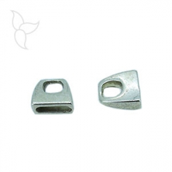 Terminal simple cuero plano 10mm plateado