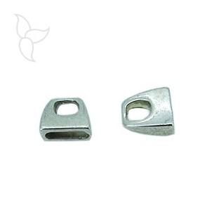 Terminali semplice cuoio piatto 10mm placcatura argento