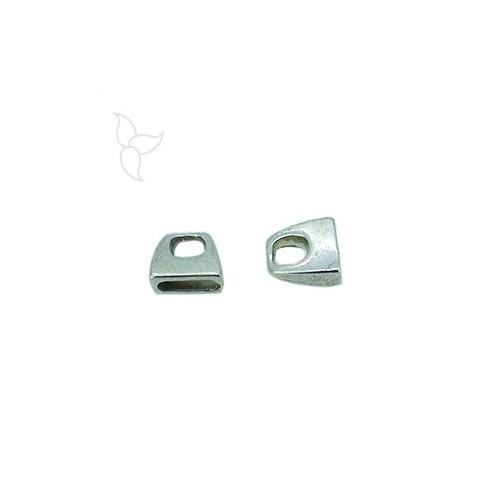 Terminal simple cuero plano 10mm plateado