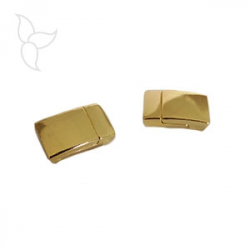 Rectangle magnetic clasp flat leather tin golden 10mm