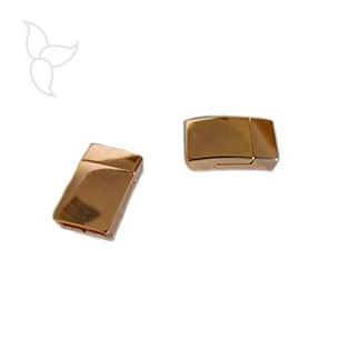 Chiusure magnetico rettangle peltro oro rosa cuoio 10mm