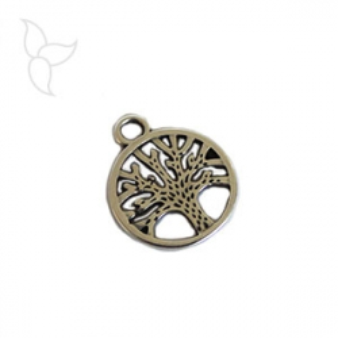 Pendentif medaille ajourée motif arbre de vie