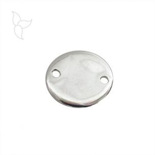 Conector moneda plateada diam 18 mm con 2 agujeros