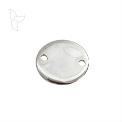 Round silver-plated connector diam 18 mm with 2 holes