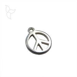 Colgante Peace and Love en metal plateado