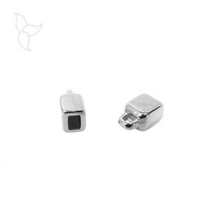 Endkappe flaches lederband 3 mm versilbert mit ein Ring
