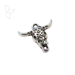 Silvery and decorated head bull pendant