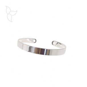 Bracelet jonc ouvert plaqué argent lisse 7 mm