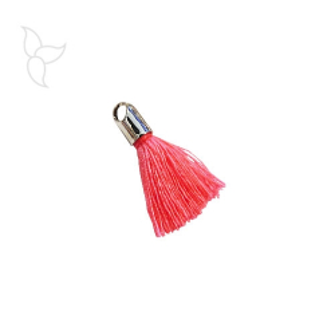 Pompon en tissu rose fluo avec embout