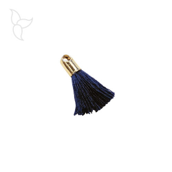 Navy blue small coton tassel with golden terminal