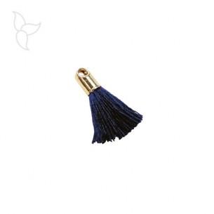 Pompon en tissu bleu marine avec embout doré et anneau
