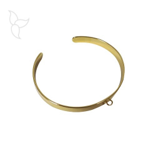 Bracelet doré réglable 6 mm avec anneau d'accrochage