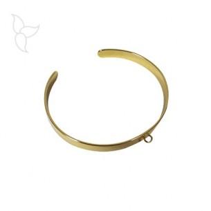 Pulsera dorada abierta y ajustable 6 mm con anilla para colgar