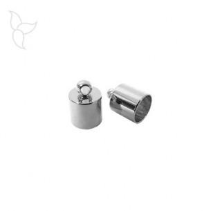 Embout argenté avec anneau d'accrochage cuir rond 6 mm