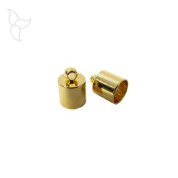 Golden terminal with hanging ring round leather 6 mm