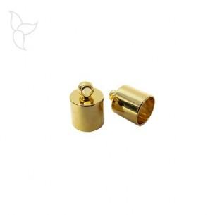 Vergoldete Endkappe mit Ring runde Leder 6 mm