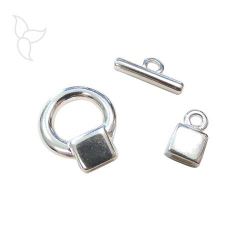 Silver plated T clasp flat leather 5 mm