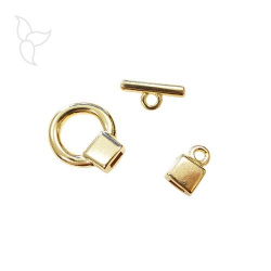 Golden T clasp flat leather 5 mm