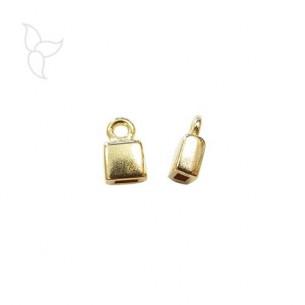 Embout doré avec anneau d'accrochage cuir plat 5 mm