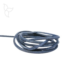 Navy blue round leather cord 3 mm