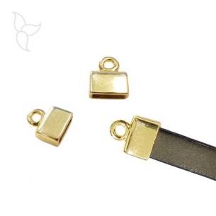 Embout doré rectangle avec anneau d'accrochage cuir plat 10 mm