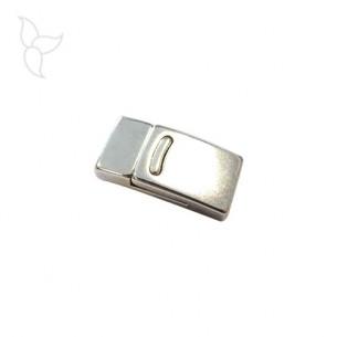 Cierre rectangolar curvo raya cuero plano 10 mm