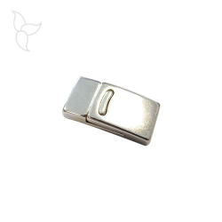 Rectangular curved line clasp flat leather 10 mm