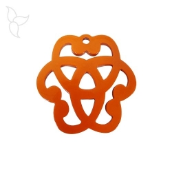 Lacquered buffalo horn pendant shape of rosette orange and natural