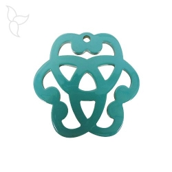 Lacquered buffalo horn pendant shape of rosette turquoise and natural