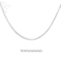 Round silvery chain small mesh 2 mm